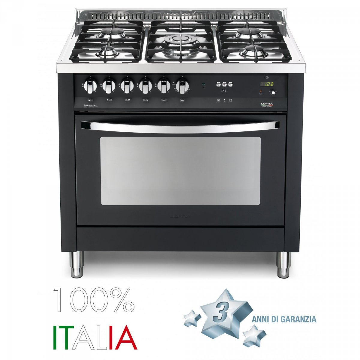 Lofra cucina rainbow 90 nero matt 5 fuochi forno a gas pnmg96gvtc lofra elettrodomestici cucine - Elettrodomestici cucina a gas ...