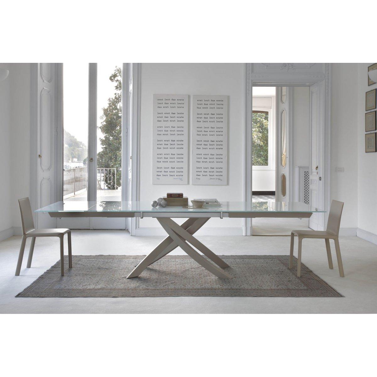 Bontempi Casa ARTISTICO Ausziehbarer Tisch 190X106 KRISTALLGLAS/LACKIERT