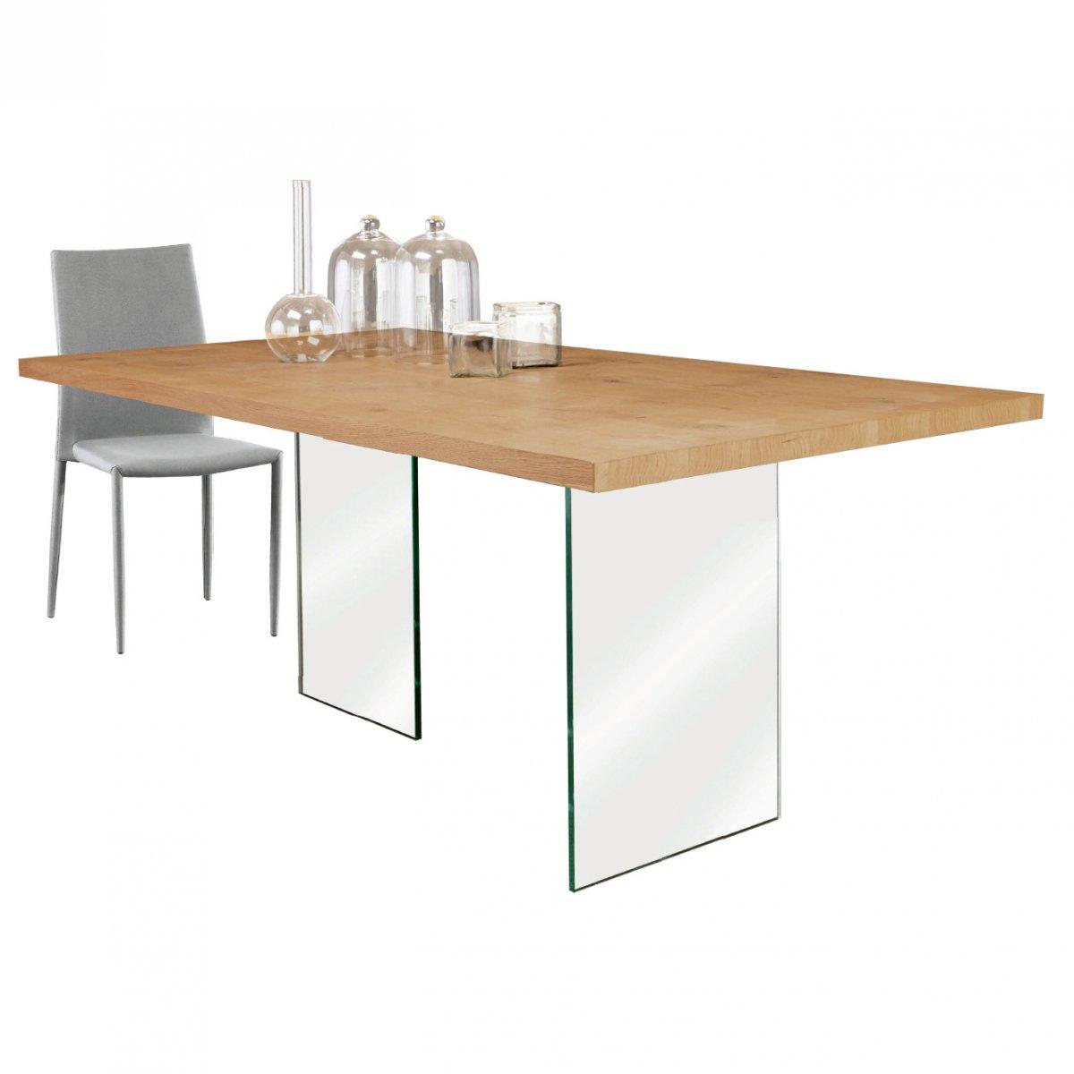 Loft: TAVOLO ROVERE E CRISTALLO LF130 Loft | tavoli e sedie - tavoli