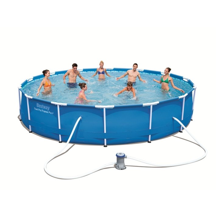 Bestway piscina rotonda steel pro frame 427x84 h 56595 for Bestway piscine e accessori