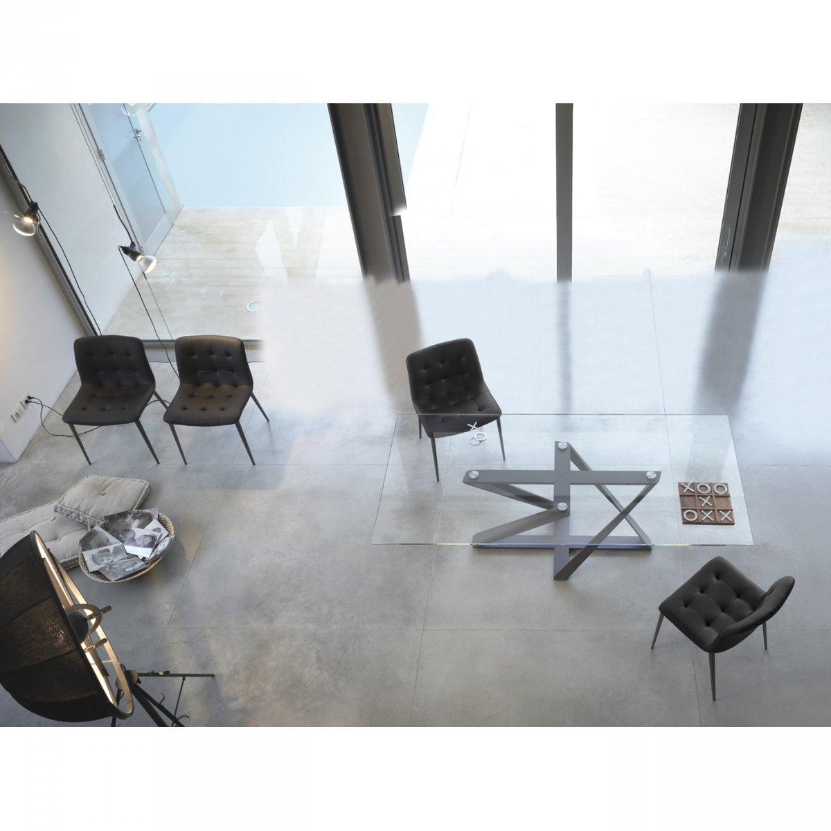 Bontempi Casa TAVOLO MILLENNIUM FISSO 160X90 CRISTALLO/LACCATO