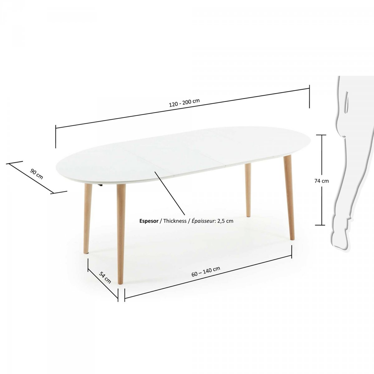 Keihome Linea J Tavolo OQUI allungabile Ovale legno 120 x 90