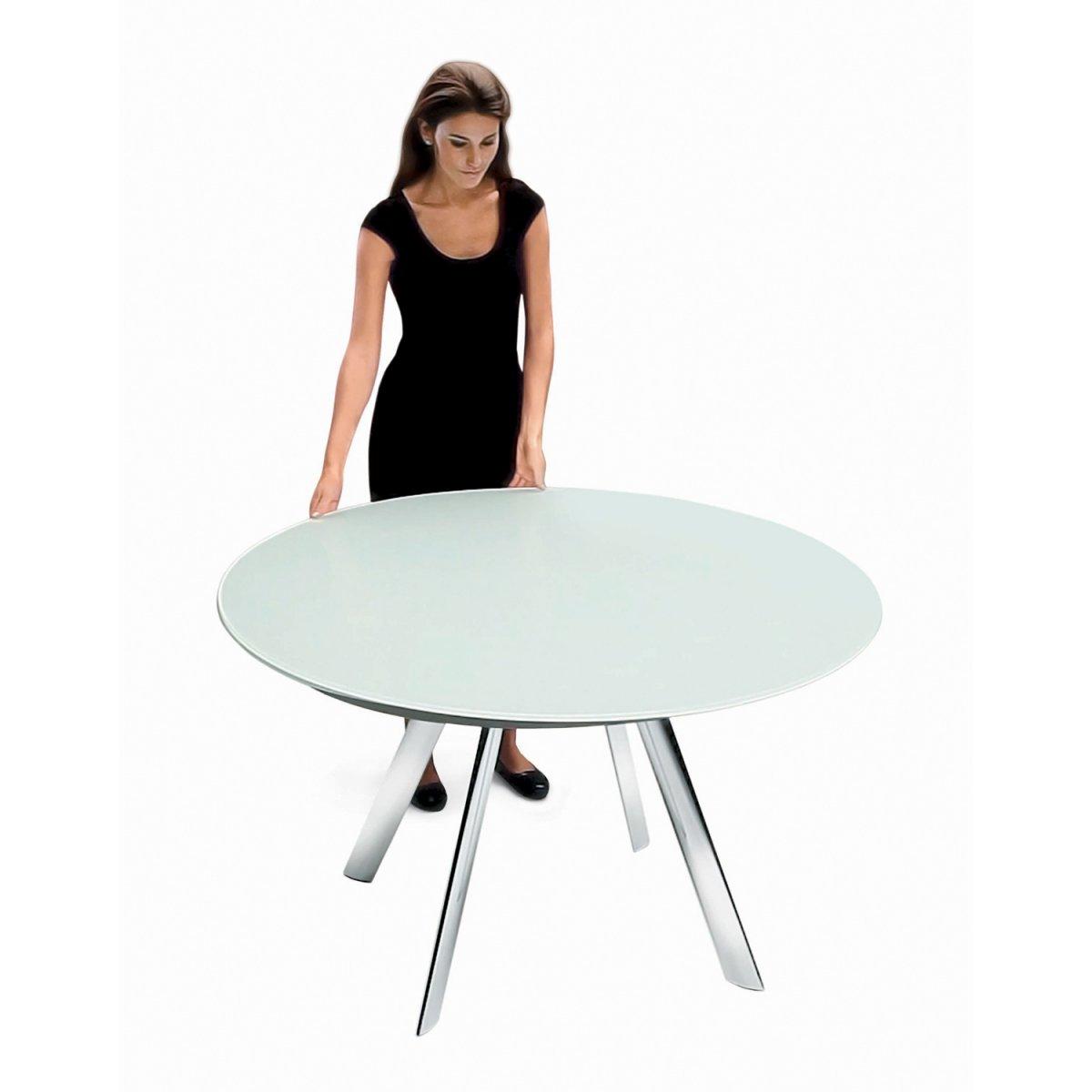 Bontempi Casa GIRO Ausziehbarer Tisch 130X75 KRISTALLGLAS/LACKIERT