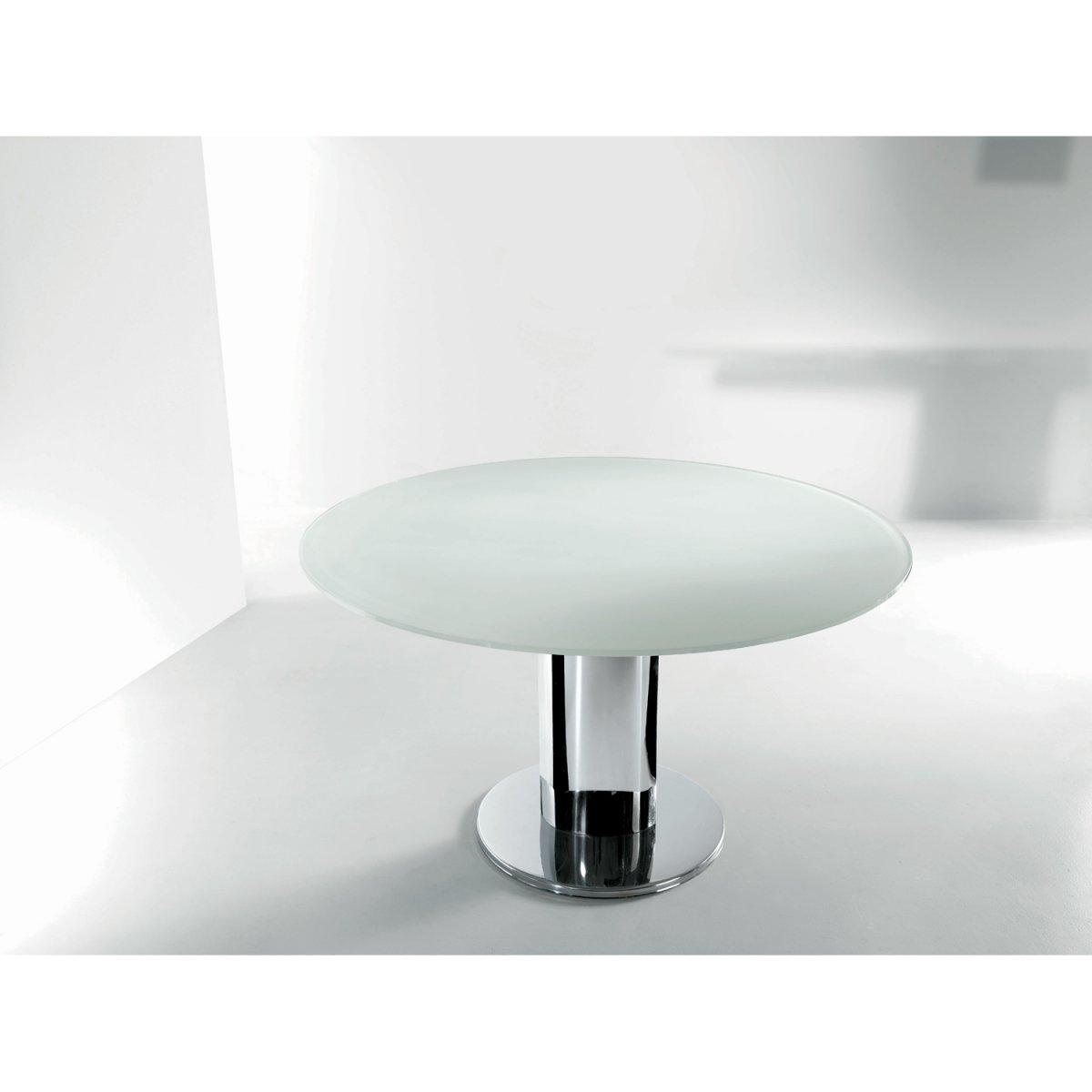 Tavolo Tondo Allungabile Cristallo.Bontempi Casa Tavolo Giro Allungabile Rotondo Vetro Laccato 130