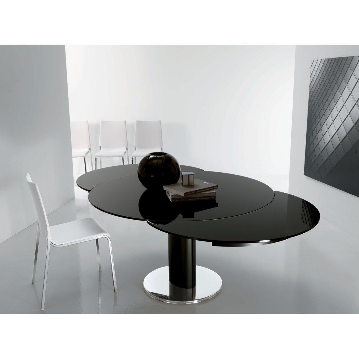 Tavoli Rotondi In Cristallo Design.Bontempi Casa Tavolo Giro Allungabile Rotondo Vetro Laccato 130