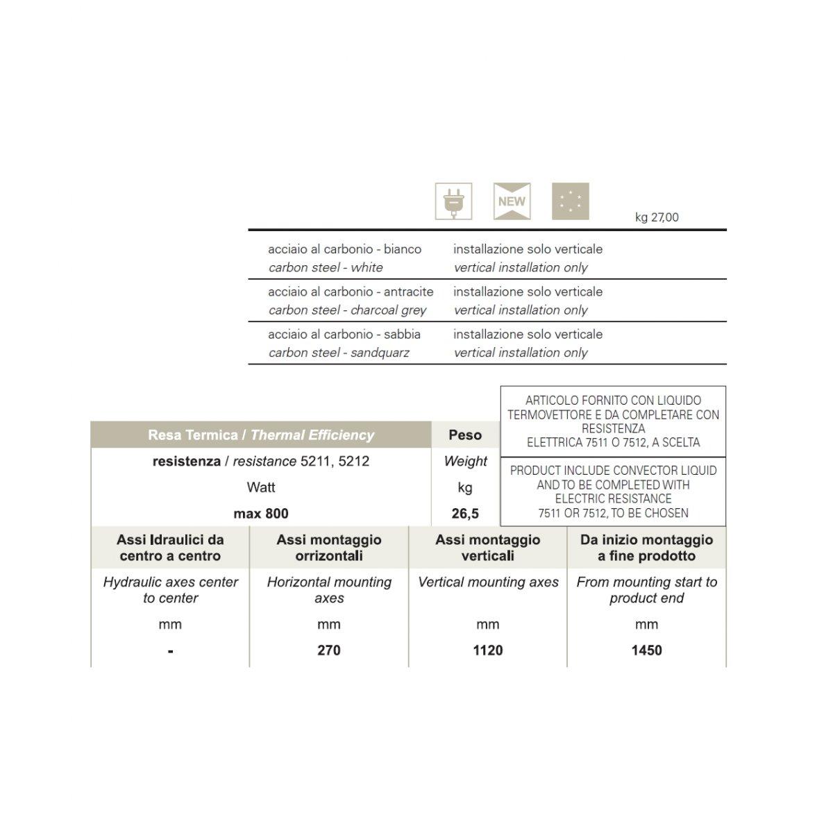 Lineabeta TERMOARREDO ELETTRICO CALIGO 1790 X 470 7504