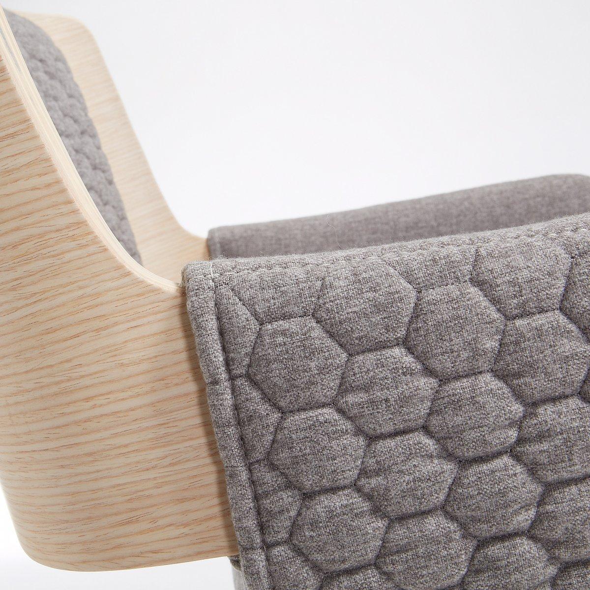 Keihome Linea J ANGIE Sedia braccioli naturale tessuto grigio