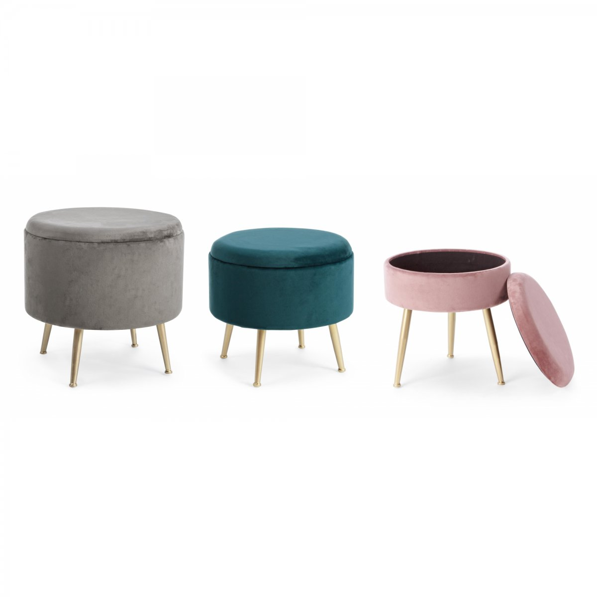Bizzotto Home Emotion SET 3 POUF CONTENITORE POLINA VELLUTO