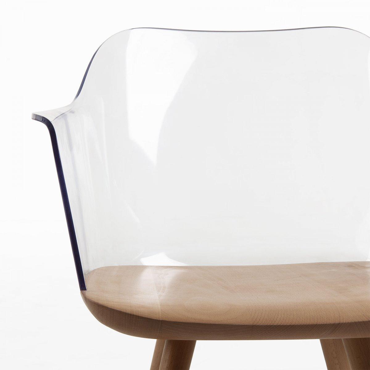 Keihome Linea J BJORG Sedia braccioli legno naturale plastica trasparente