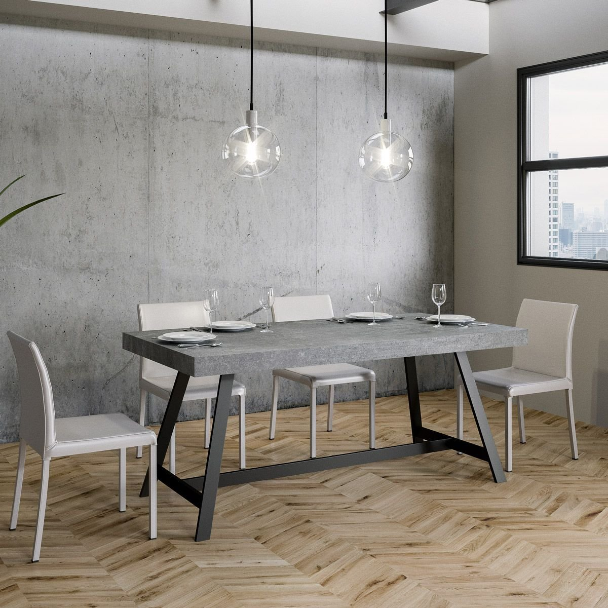 Itamoby: Tavolo Achille rettangolare legno cemento 130 x ...