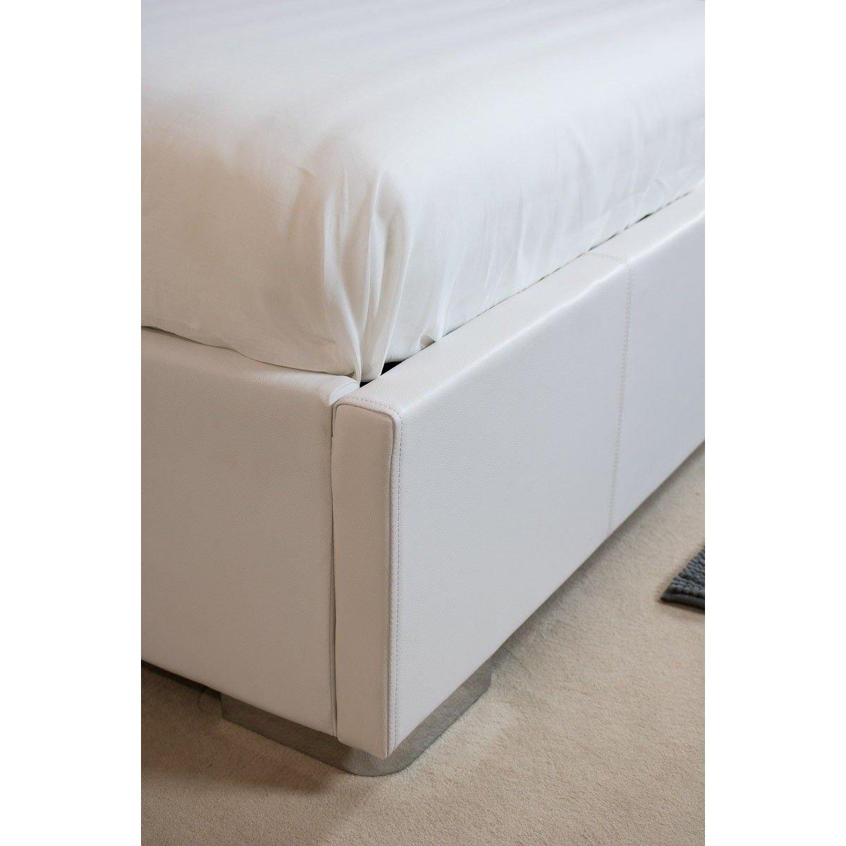 Itamoby Letto matrimoniale Alexa ecopelle bianco con contenitore e rete