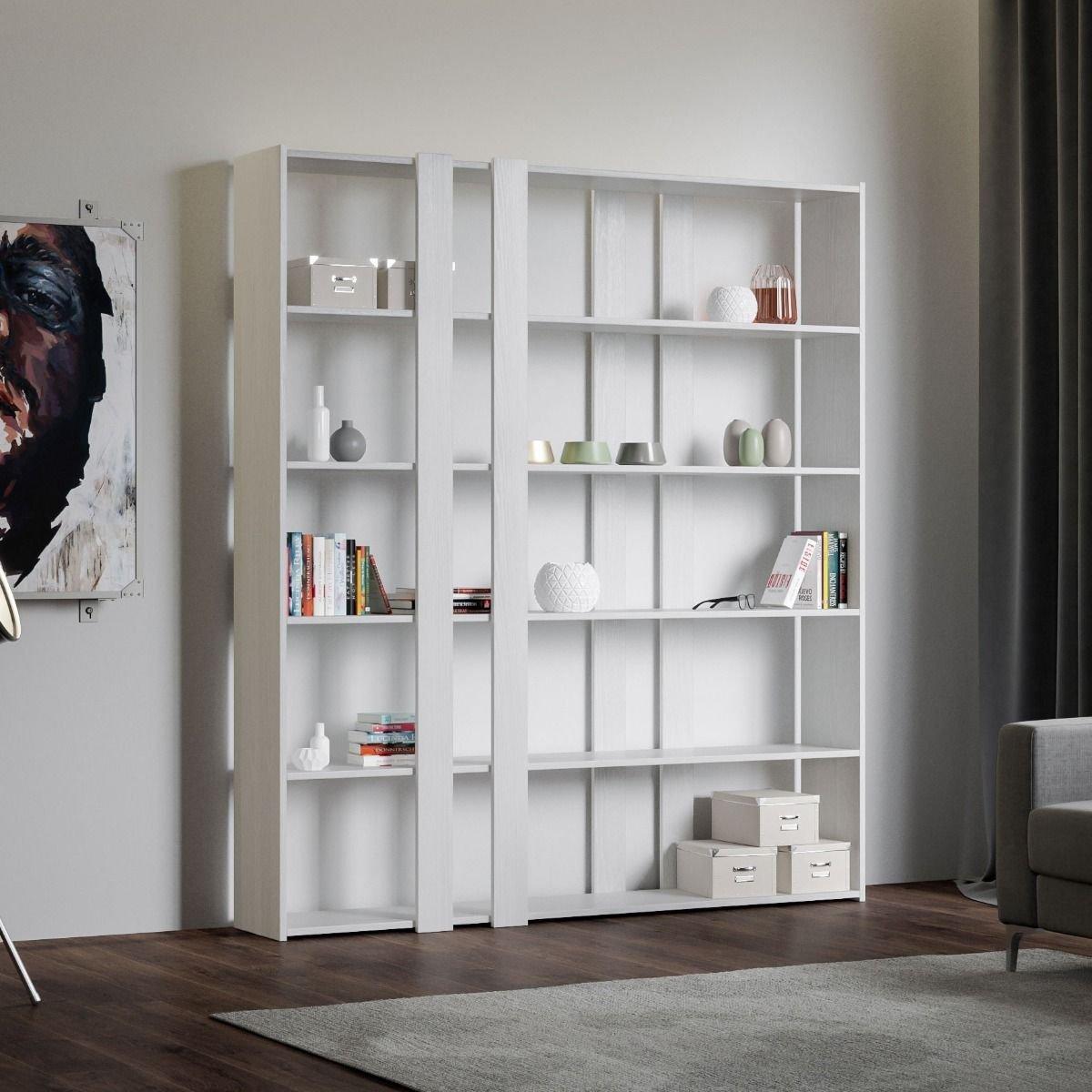 Itamoby Composizione Soggiorno A Parete Libreria Kato A Bianco Frassino