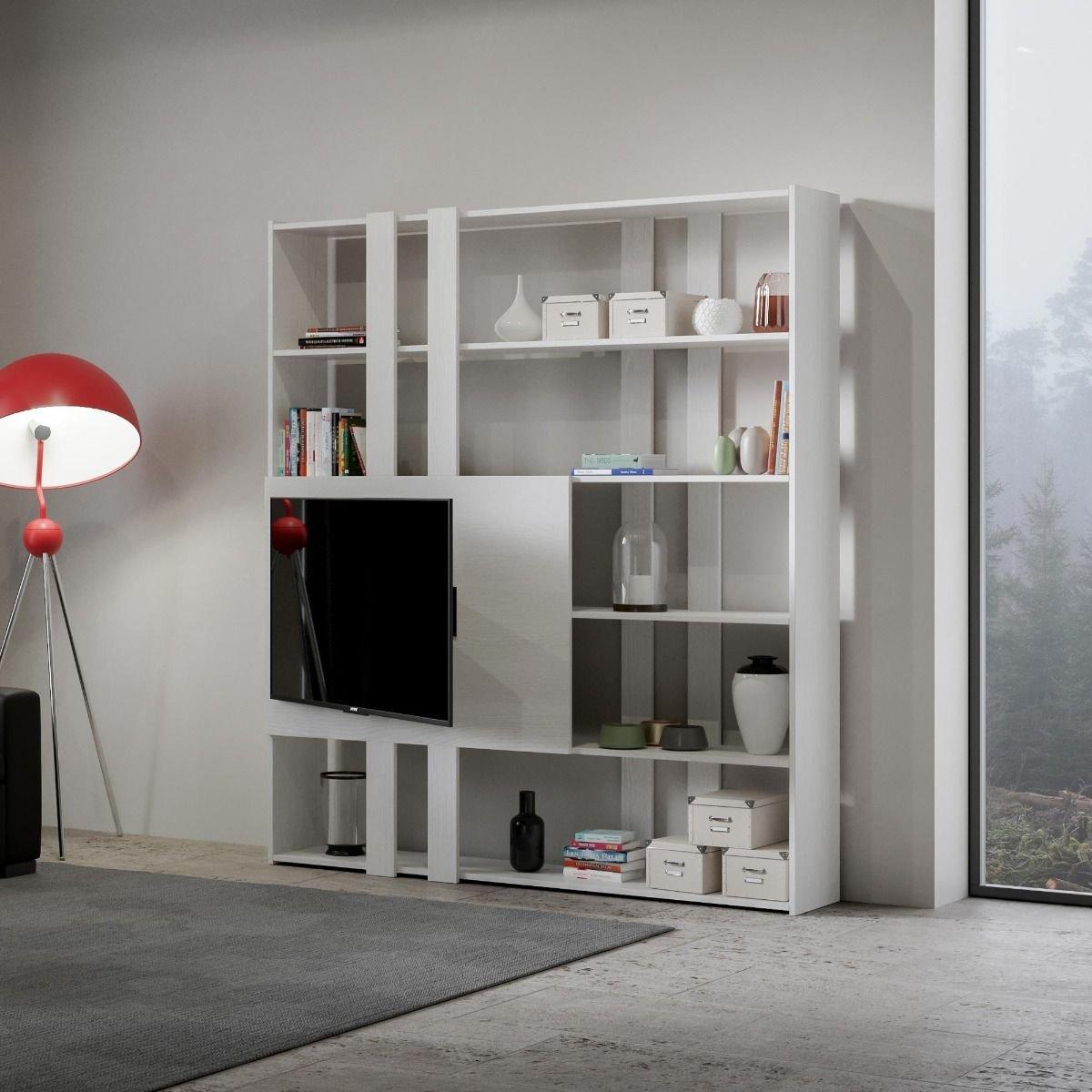 Itamoby Composizione soggiorno a parete Kato H porta TV Bianco Frassino