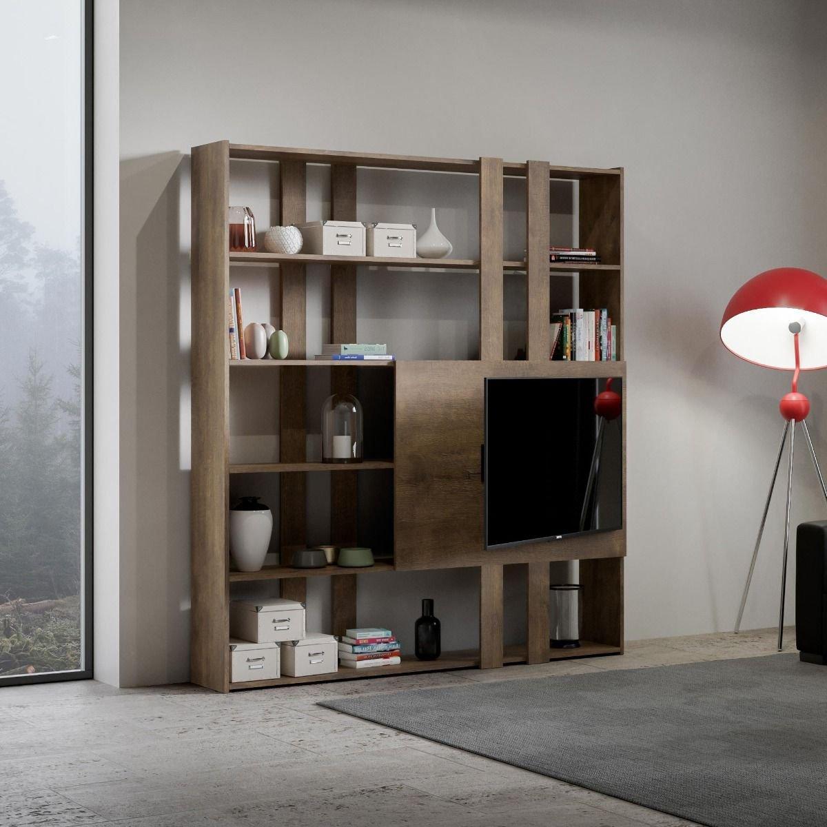 Itamoby Composizione soggiorno a parete Kato H porta TV Noce