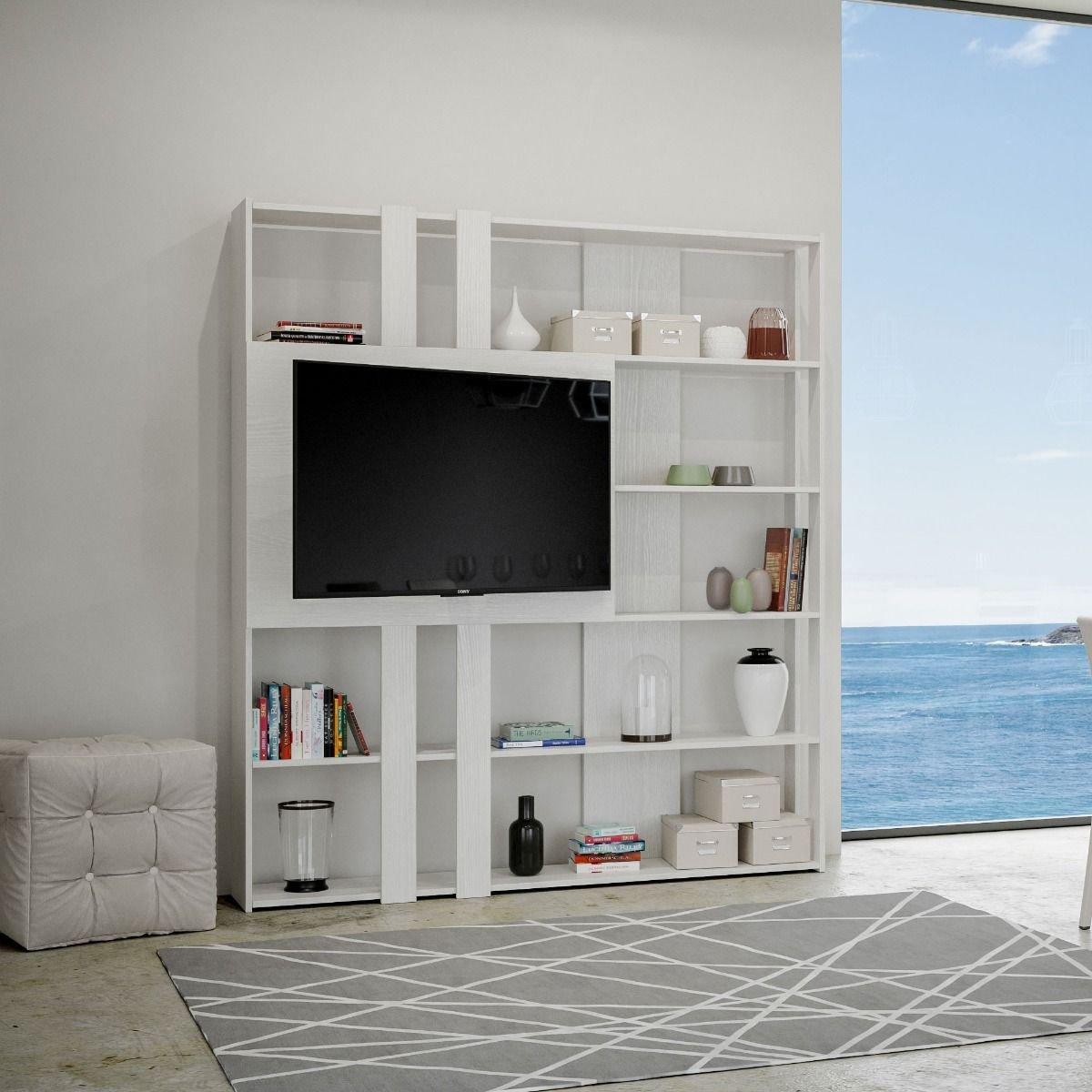 Itamoby Composizione Soggiorno A Parete Kato L Porta Tv Bianco Frassino
