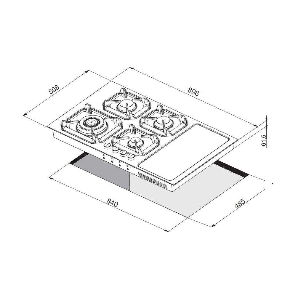Lofra PIANO COTTURA NETTUNO 90 nero matt COMBI GAS INDUZIONE HLNM9G2I