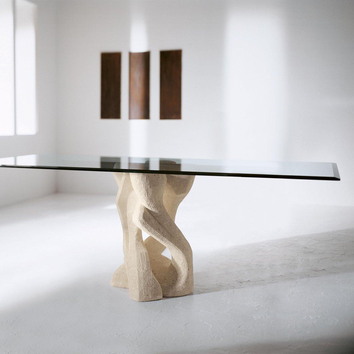 Tavoli In Pietra E Cristallo.Ldm Laboratorio Del Marmo Tavolo Alex Sand Rettangolare Vetro 200