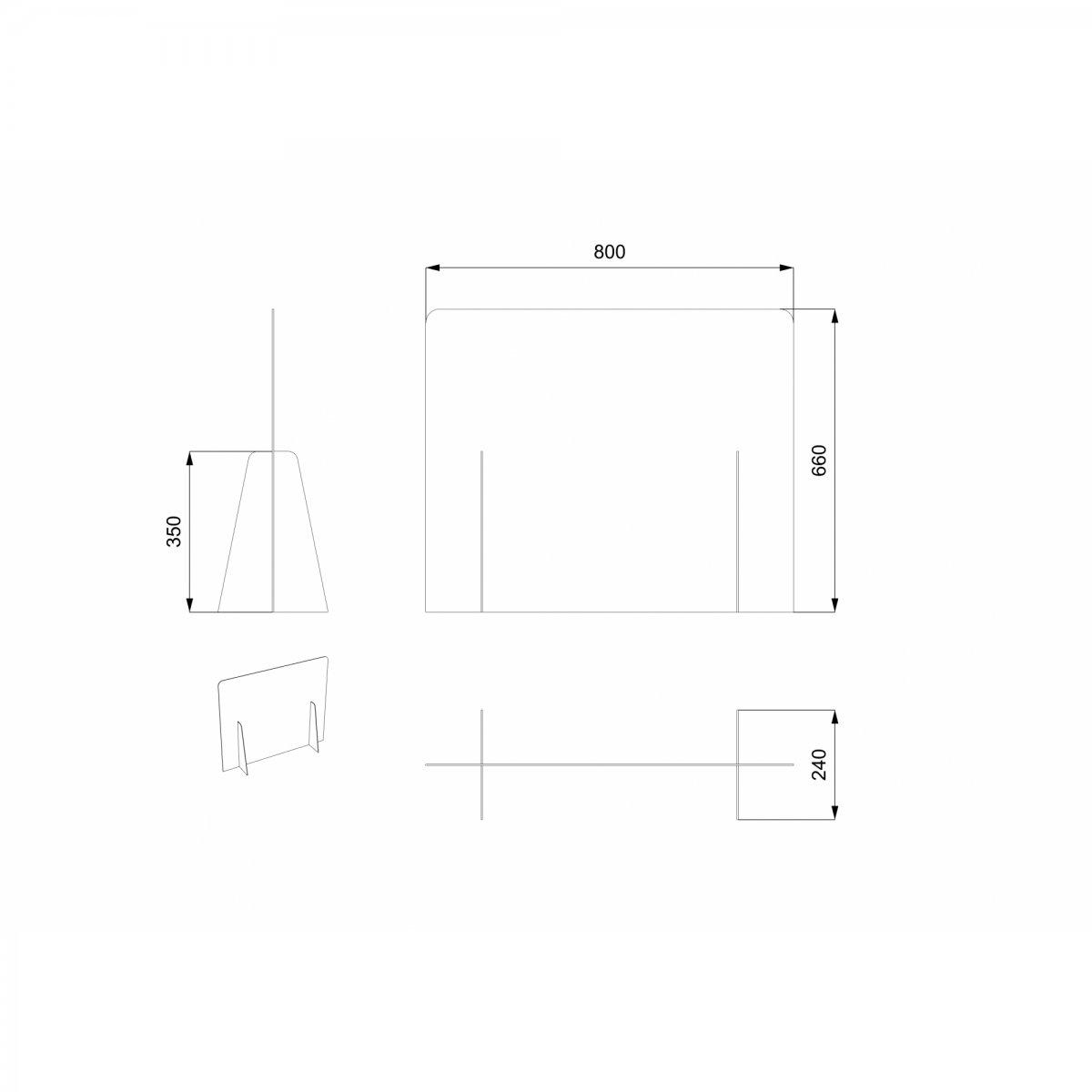Keihome Covid-19 SCHERMO PROTETTIVO sp. 3 mm senza foro 80 x 66 cm
