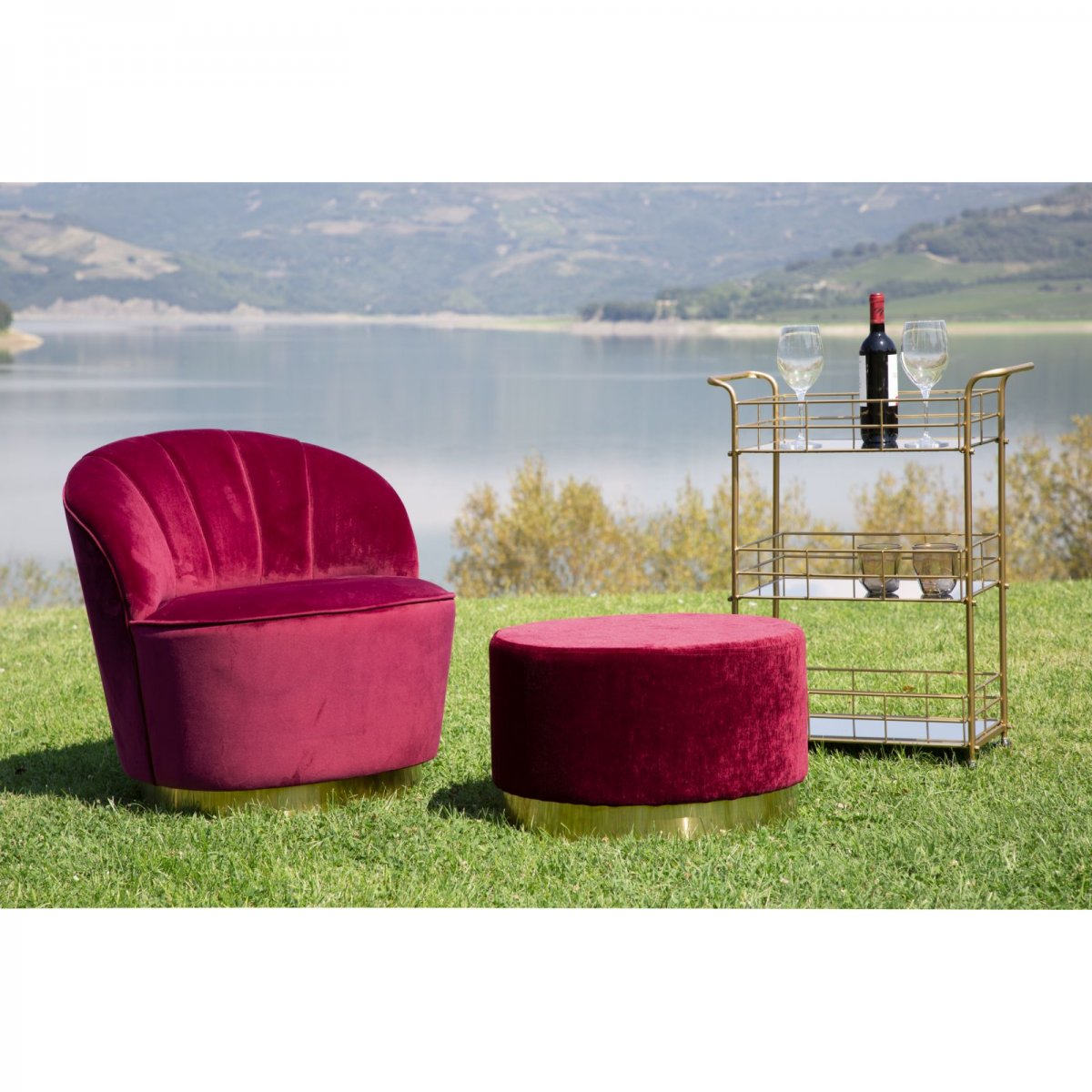 Keihome Look POUF GOLDY GRANDE BORDEAUX