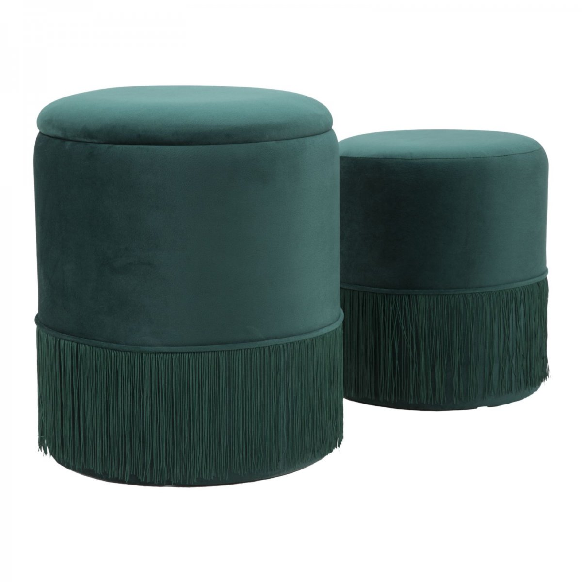 Keihome Look SET 2 POUF CONTENITORE LINES VERDE