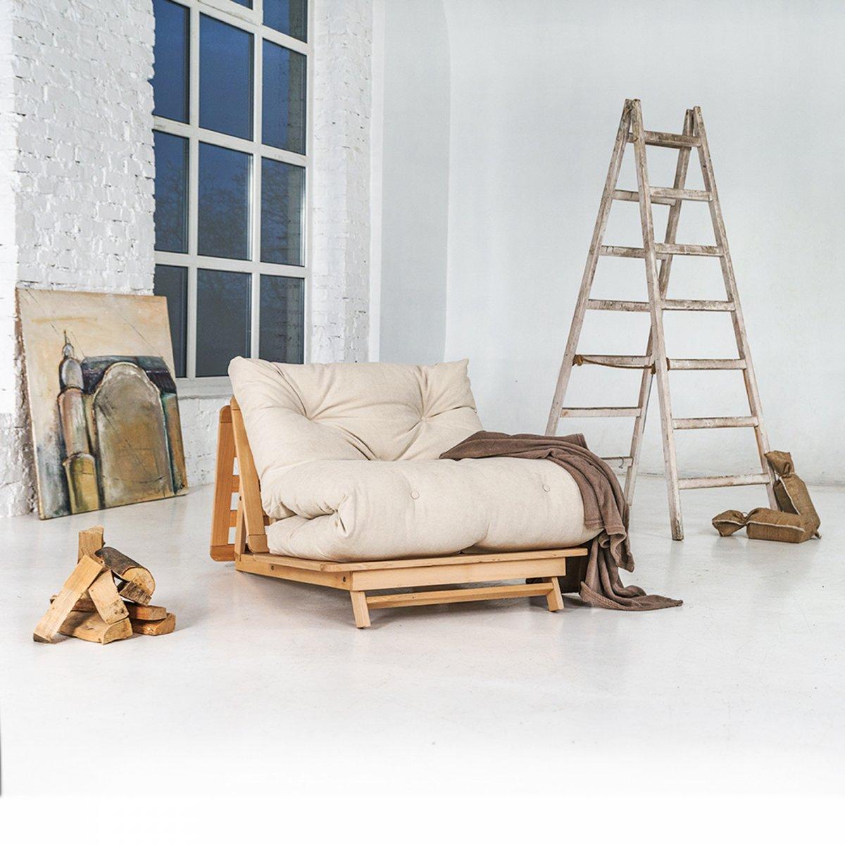Woodman Pouf divano letto Layti naturale crema