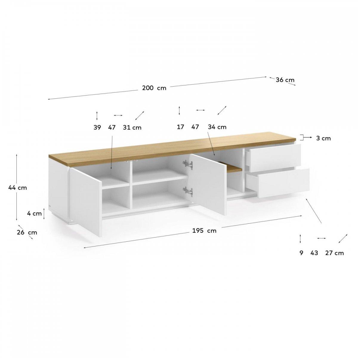 Keihome Linea J Mobile TV Abilen in legno e laccato