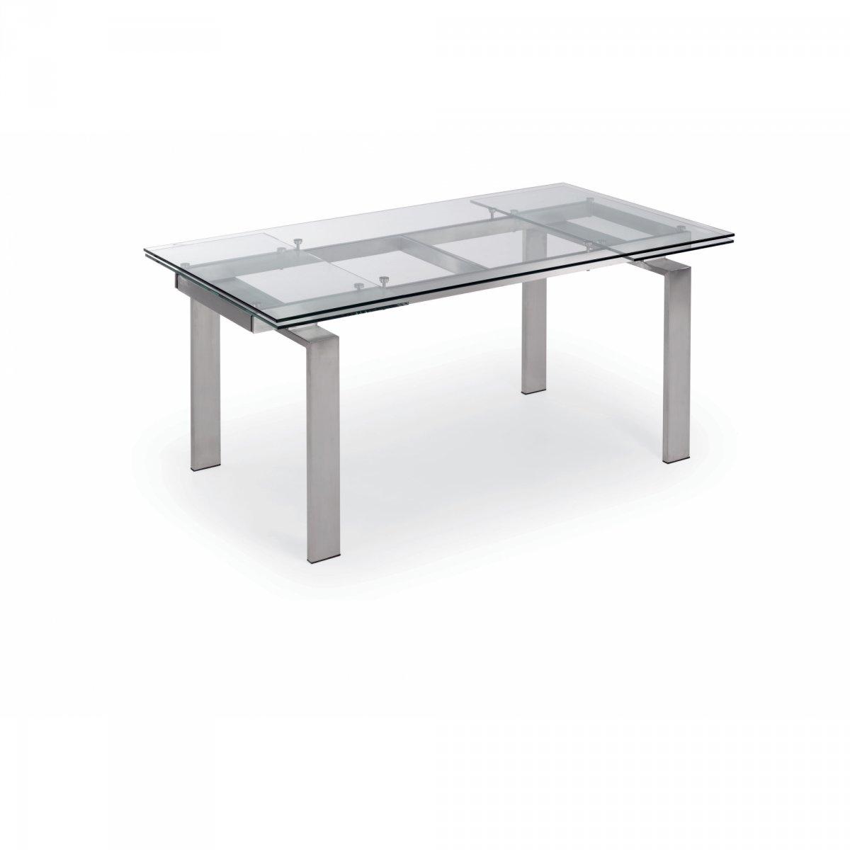 Keihome linea j nara tavolo allungabile piano in vetro trasparente gambe inox keihome linea j - Tavolo trasparente allungabile ...