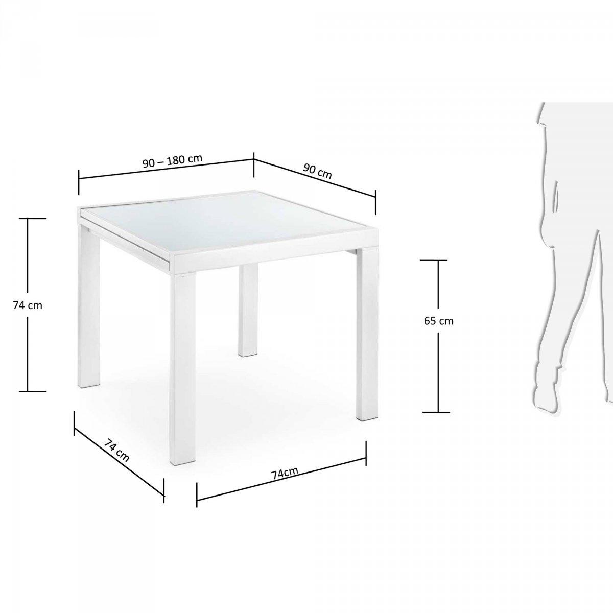 Keihome Linea J: Tavolo NORFOLK allungabile quadrato vetro ...